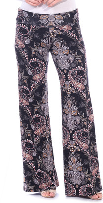 Brooke & Emma Women's Casual Pants ST48 - Dark Blue & Taupe Floral Palazzo Pants - Women & Plus