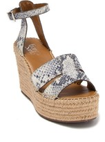 Franco Sarto Talya Snakeskin Embossed Leather Espadrille Wedge Sandal