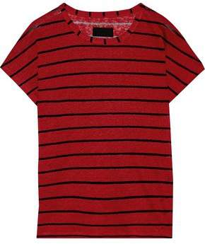 RtA Metallic Striped Slub Linen-blend Jersey T-shirt