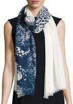 Badgley Mischka Cheetah-Print Oblong Scarf, White/Blue
