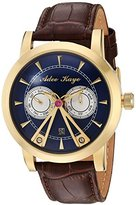 Adee Kaye Men's Automatic Stainless Steel and Leather Dress Watch, Color:Brown (Model: AK8871-GBU)