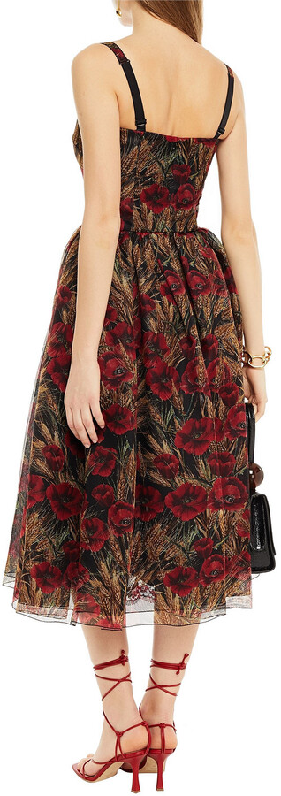 Thumbnail for your product : Dolce & Gabbana Gathered Floral-print Silk-blend Midi Dress