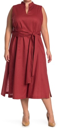 Anne Klein Linen Midi Dress With Attached Sash (Plus Size)