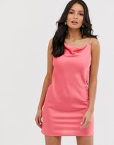 Miss Selfridge slip dress with cowl neck in coral