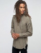 Asos Military Shirt With Straps And Long Sleeves In Khaki In Regular Fit