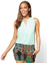 New York & Co. 7th Avenue - Hi-Lo Split Neck Blouse