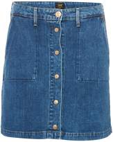 Lee Button Up Denim Skirt In Acid Stone