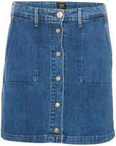 Lee Button Up Denim Skirt In Acid Stone