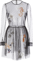 RED Valentino Long Sleeve Mini Dress with Applique