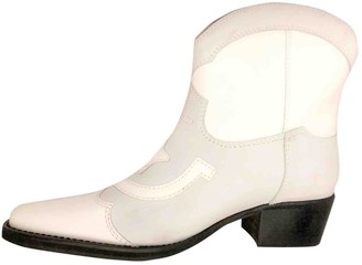 Ganni White Leather Ankle boots