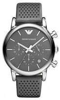 Giorgio Armani Genuine NEW Emporio Classic Chronograph Grey Dial Grey Leather Strap Men'