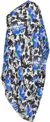 Roland Mouret Knight One-shoulder Draped Floral-print Silk Crepe De Chine Dress