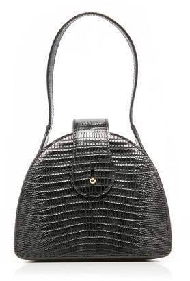 L'Afshar Paloma Lizard-Effect Leather Top Handle Bag