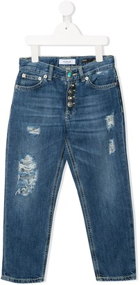 Dondup Kids Denim Cropped Distressed Jeans