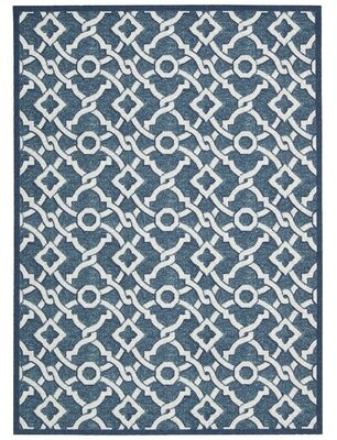 "Waverly Treasures Geometric Blue Area Rug Rug Size: Rectangle 1'6"" x 2'6"""