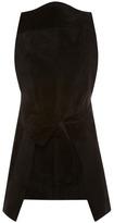 Proenza Schouler Black Raw Suede Sleeveless Tie Front Top