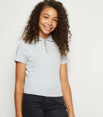 New Look Girls Tipped Zip Up Polo Top