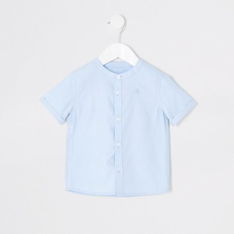 River Island Mini boys blue grandad collar twill shirt