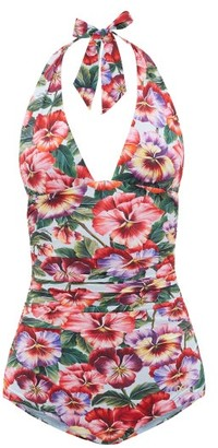 Dolce & Gabbana Halterneck Ruched Pansy-print Swimsuit - Multi