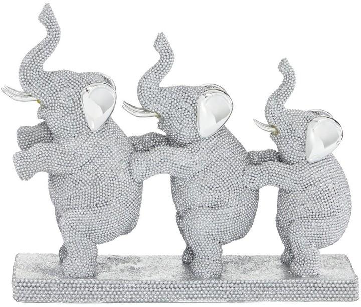 Blanc et Argent Céramique Éléphant Lot de 3 Luxe Décoratif Cadeau Romany style!
