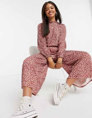 ASOS DESIGN long sleeve floral frill neck jumpsuit in red