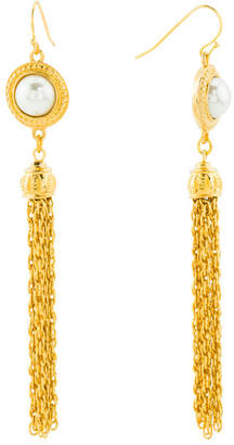 Made In Usa 24k Gold Plated Pearl Tassel Earrings