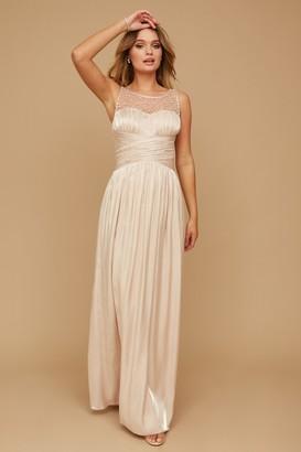 Little Mistress Grace Bridesmaid Beige Embellishment Sweetheart Maxi Dress