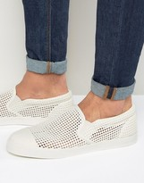 Asos Slip On Plimsolls In White With Perforated Pannelling