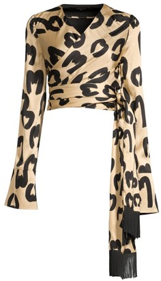 Mother of Pearl Alena Animal-Print Cropped Wrap Blouse