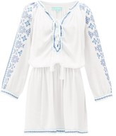 Melissa Odabash Ellie Lace-up Embroidered-voile Dress - Womens - White Multi