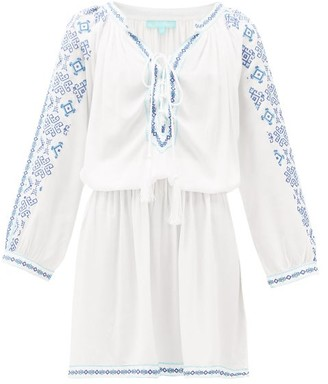 Melissa Odabash Ellie Lace-up Embroidered-voile Dress - White Multi