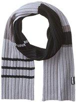 Muk Luks Men's Ribbed Colorblocked Stripe Single Layer Scarf