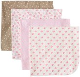 Gerber Baby-Girls Newborn Owl 4 Pack Flannel Receiving Blanket