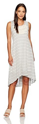 One World ONEWORLD Women's Petite Size Sleeveless Striped Knit Dress with Applique