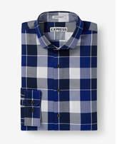 Express slim fit checked dress shirt