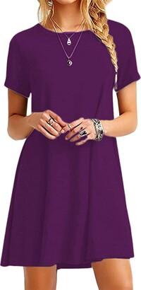 Sucor Women Casual Mini Dresses Short Sleeve Swing Loose Tunic T-Shirt Dress Hot Pink XXXX-Large