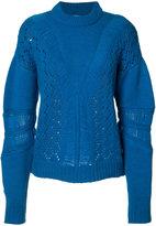Prabal Gurung cashmere perforated trim jumper