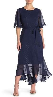MelloDay Elbow Sleeve Chiffon High/Low Maxi Dress (Petite)