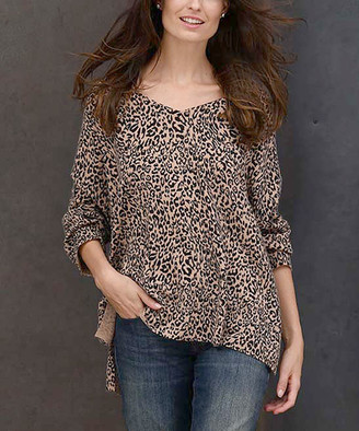 InCashmere In Cashmere Women's Pullover Sweaters Camel - Camel Animal Print Cashmere Dolman Sweater - Women