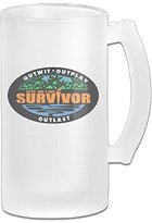 Survivor Great Extra Large Frosted Glass Beer Mug, Personalized Beer Stein, Tea / Coffee Cups - 17 Ounce / 500ML