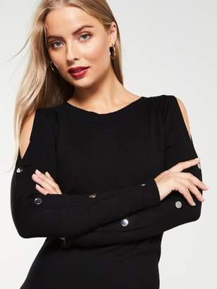Very Popper Sleeve Knitted Midi Dress - Black