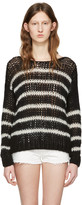Saint Laurent Black and White Striped Sweater
