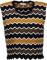 A.L.C. Leo cropped striped stretch-knit top