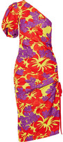 Rosie Assoulin One-shoulder Ruched Printed Cotton-blend Faille Midi Dress - Purple