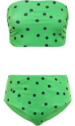 Ganni Clover Polka-dot Stretch-jersey High-rise Bandeau Bikini