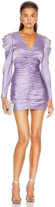 Jonathan Simkhai Puff Sleeve Dress in Electric Lilac | FWRD