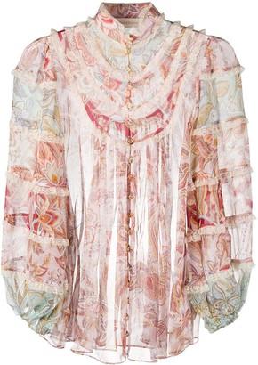 Zimmermann Ruffled Floral Silk Shirt