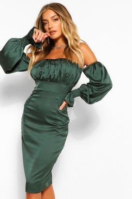 boohoo Rouched Off The Shoulder Midi Dress