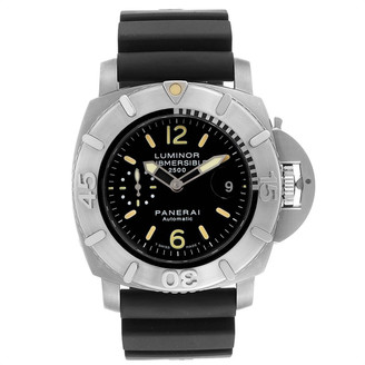 Panerai Black Stainless Steel and Rubber Luminor Submersible 2500m PAM00194 Men's Wristwatch 47MM