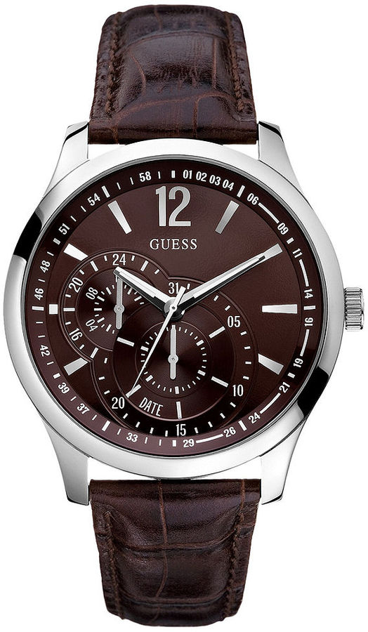 GUESS Watch, Men's Brown Croc Embossed Leather Strap 35mm U95152G2
